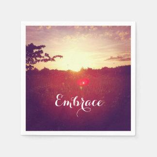 Elegant Field Sunset With Lens Flare & Custom Text Paper Napkin