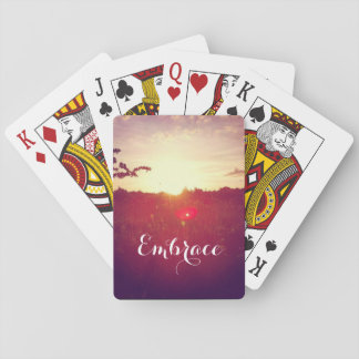 Elegant Field Sunset With Lens Flare & Custom Text Playing Cards