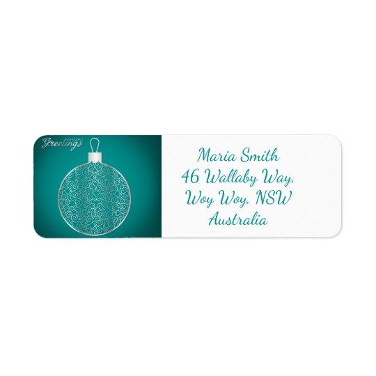 Elegant filigree bauble return address label