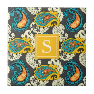 Elegant Filigree Paisley Swirls Monogram Tile