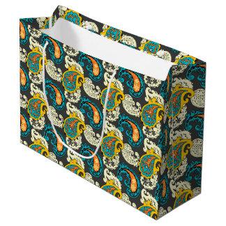 Elegant Filigree Paisley Swirls Pattern Large Gift Bag