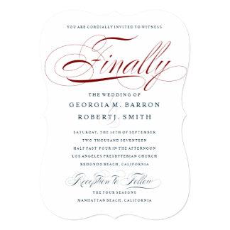 Elegant Finally Wedding Invitation Custom Red Navy
