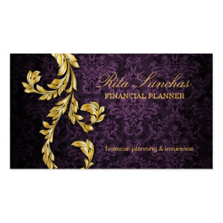 Elegant Financial Planner Gold Leaf Purple Double-Sided Standard Business Cards (Pack Of 100)