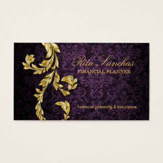 Elegant Financial Planner Gold Leaf Purple Business Card