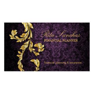 Elegant Financial Planner Gold Leaf Purple Pack Of Standard Business Cards
