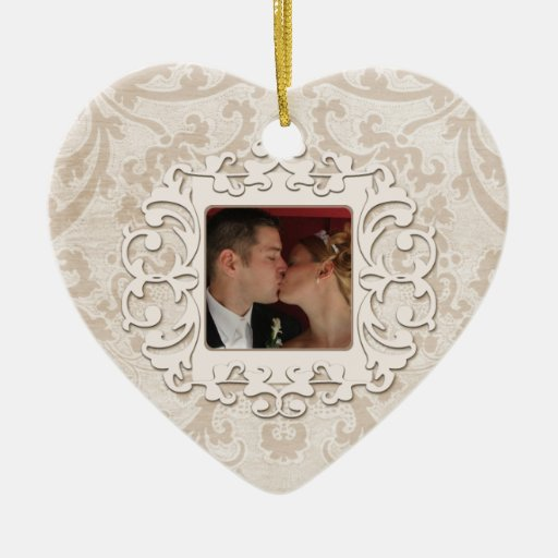 Elegant First Christmas Together Personalize Photo Christmas Tree Ornament