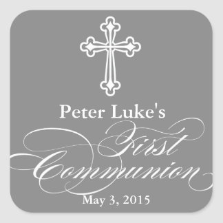 Elegant First Communion Party Favour Labels|Tags Square Sticker