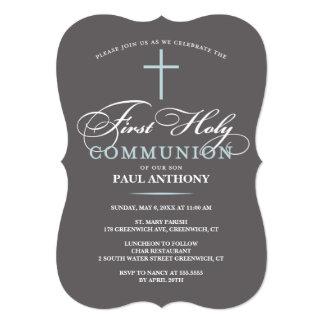Elegant First Holy Communion Invitation Blue