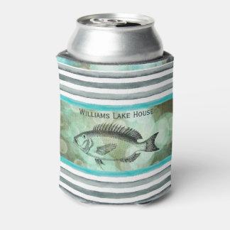 Elegant Fishing Lakeside Cabin Monogram Can Cooler