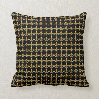 Elegant Fleur de Lis Black and Gold Pillow - SRF