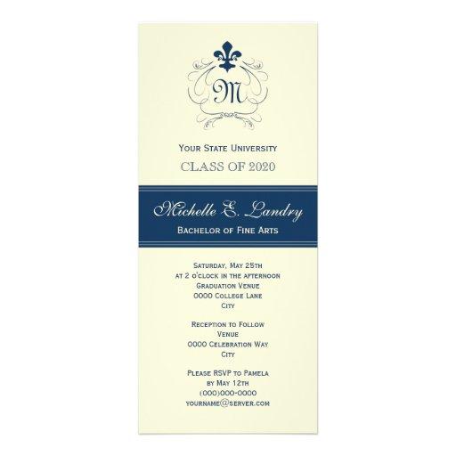 Elegant Fleur de Lis Formal Graduation (blue) Announcements