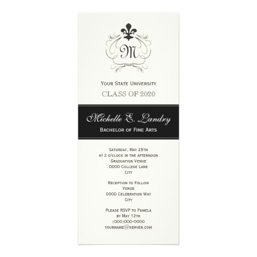 Elegant Fleur de Lis Formal Graduation Invitation