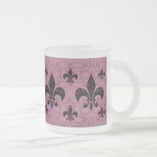Elegant Fleur-De-Lis Frosted Glass Coffee Mug