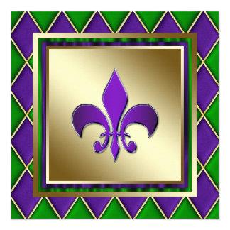 "Elegant Fleur De Lis Mardi Gras Wedding 5.25"" Square Invitation Card"