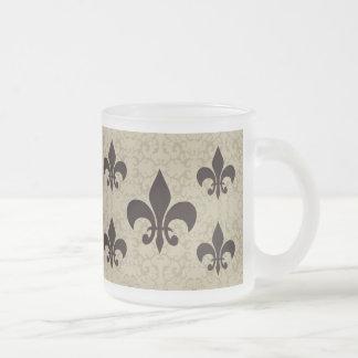 Elegant Fleur-De-Lis 10 Oz Frosted Glass Coffee Mug