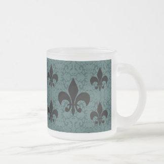 Elegant Fleur-De-Lis Frosted Glass Mug