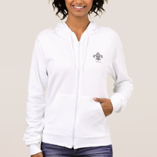 Elegant Fleur de Lis with Scrolls Ladies Hoodie