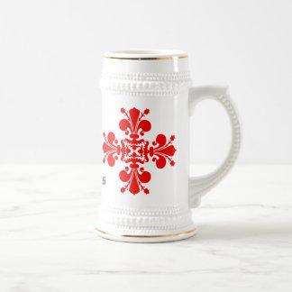 Elegant fleur de lys Christmas Beer Stein