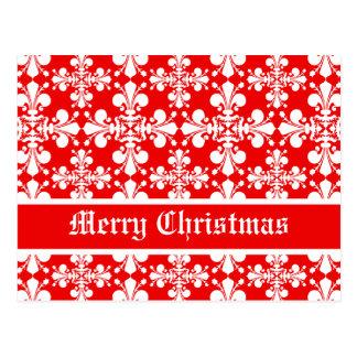 Elegant fleur de lys damask Christmas Postcard