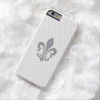 Elegant Fleur de Lys in Grey and White Barely There iPhone 6 Case