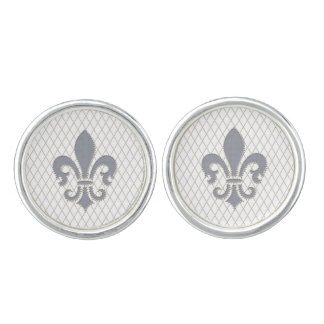 Elegant Fleur de Lys in Grey and White Cuff Links