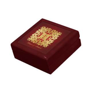 Elegant Flora Gold Chinese Double Happiness Small Square Gift Box