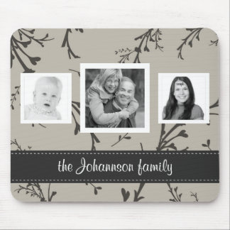 Elegant Floral  3 Photos Personalized Family Mouse Pad