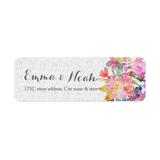 Elegant floral and brush strokes wedding design return address label