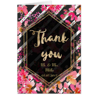 Elegant floral and stripes wedding collection card