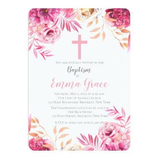 Elegant Floral Baptism | Christening Invitation