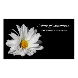 Elegant Floral Beautiful White Daisy on Black Business Card Template