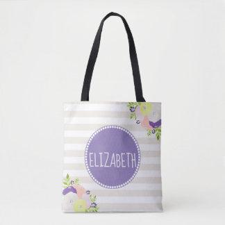 Elegant Floral Beige Stripes Purple Monogram Name Tote Bag