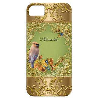 Elegant Floral Bird Green Gold Elite Flowers iPhone 5 Covers