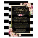 Elegant Floral Black White Stripes Birthday Party 13 Cm X 18 Cm Invitation Card