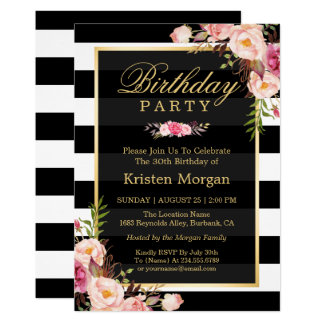 Elegant Floral Black White Stripes Birthday Party 13 Cm X 18 Cm Invitation Card