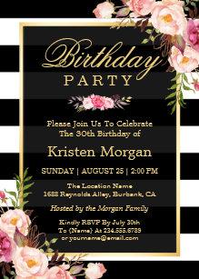 Black And White Striped Invitations Announcements