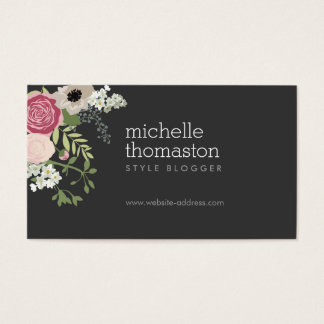 Elegant Floral Bouquet Stylist, Blogger, Designer Business Card