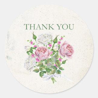 Elegant Floral Bouquet Thank You Round Sticker
