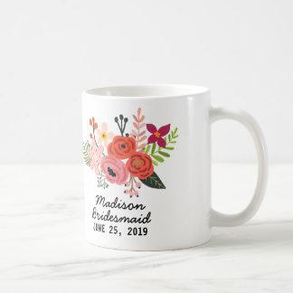 Elegant Floral Bridesmaid Coffee Mug