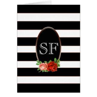 Elegant Floral Bronze Black White Striped Monogram Card