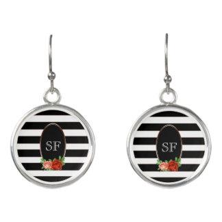 Elegant Floral Bronze Black White Striped Monogram Earrings