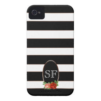 Elegant Floral Bronze Black White Striped Monogram iPhone 4 Cover