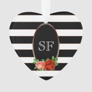Elegant Floral Bronze Black White Striped Monogram Ornament