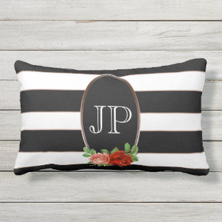 Elegant Floral Bronze Black White Striped Monogram Outdoor Cushion