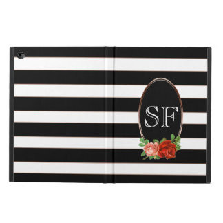 Elegant Floral Bronze Black White Striped Monogram Powis iPad Air 2 Case