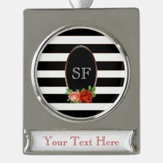 Elegant Floral Bronze Black White Striped Monogram Silver Plated Banner Ornament