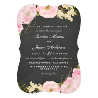 Elegant Floral Chalkboard Wedding Invite