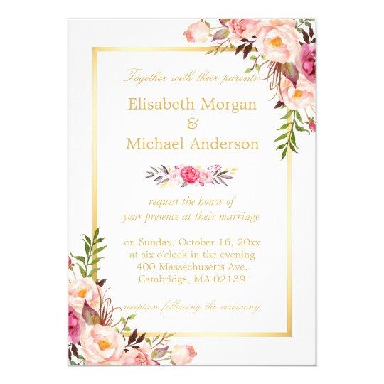 Elegant floral chic gold white formal wedding invitation zazzle elegant floral chic gold white formal wedding invitation stopboris Gallery