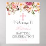 Elegant Floral Christening Baptism Welcome Sign