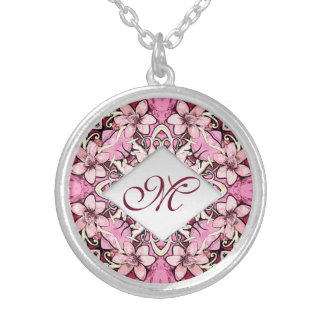 Elegant floral colorful pink monogram silver plated necklace